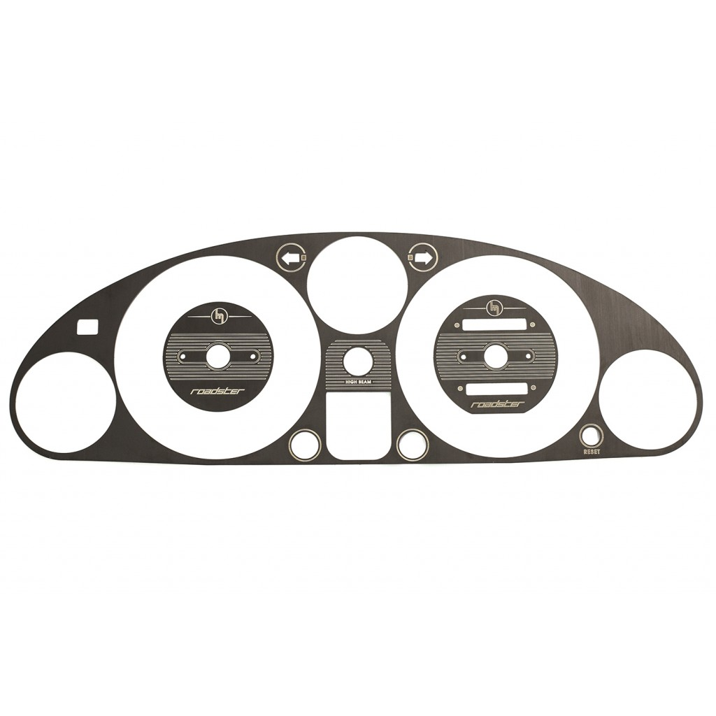 Engraved Instrument Cluster Bezel, Black Brushed Stainless Steel, NA/MK1